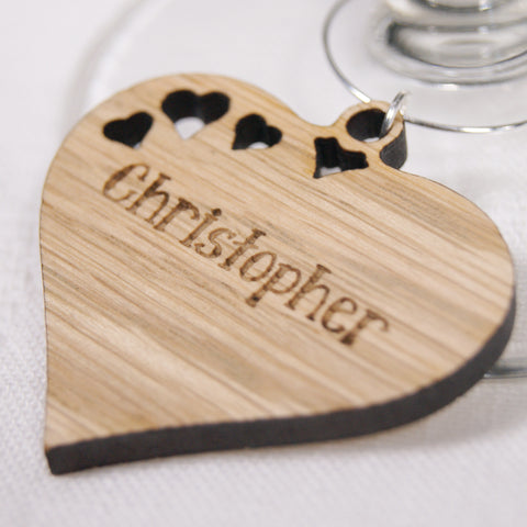 Personalised Wooden Heart Wine Glass Charm