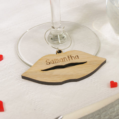 Personalised Wooden Lips Cutout Wine Glass Charm