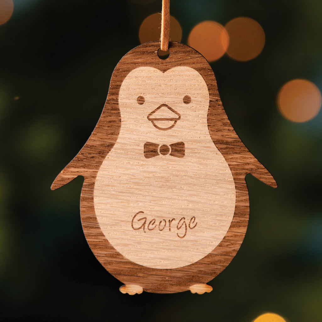 Personalised Wooden Penguin Christmas Tree Decoration