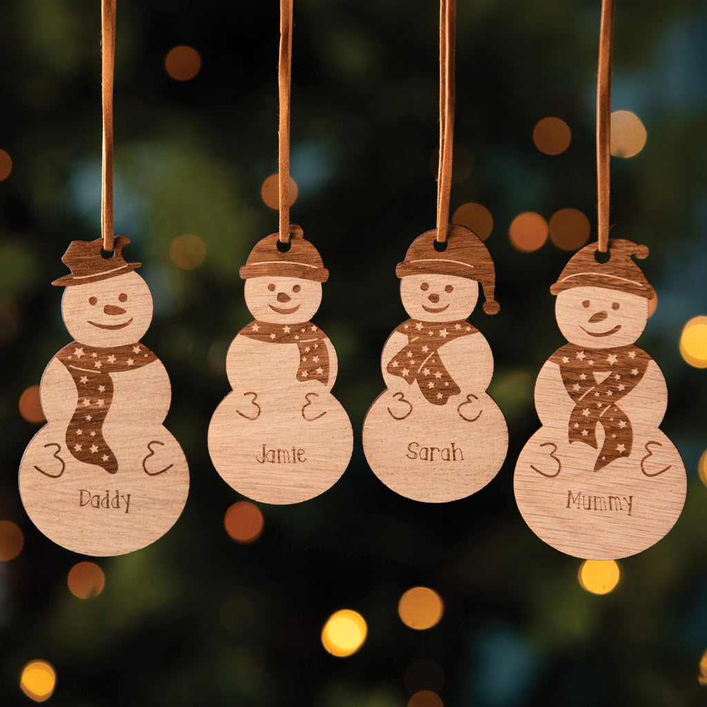 Personalised Wooden Snowman Christmas Tree Decoration