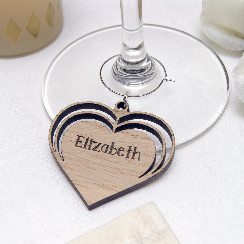 Wooden Triple Heart Wine Glass Charm