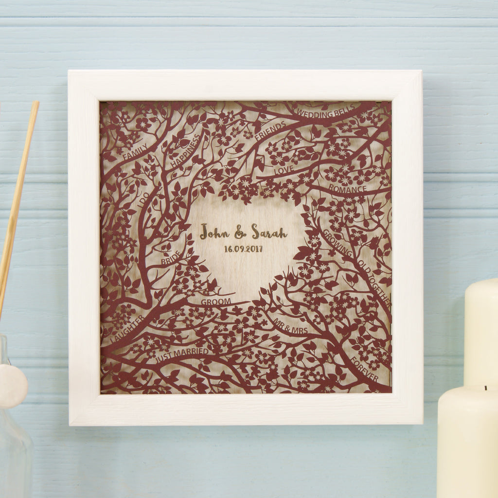 Woodland Wedding Wall Art in Matt Claret