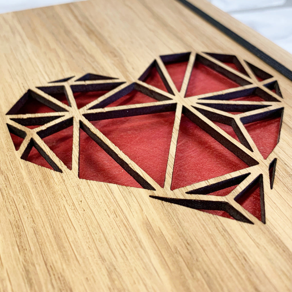 Wooden Geometric Heart Notebook