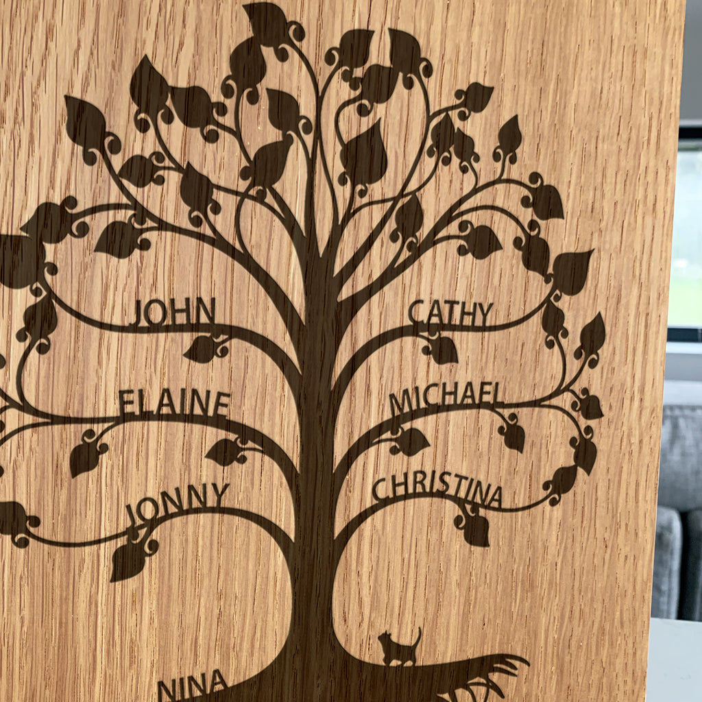 Personalised Wooden Family Tree Block Artwork
