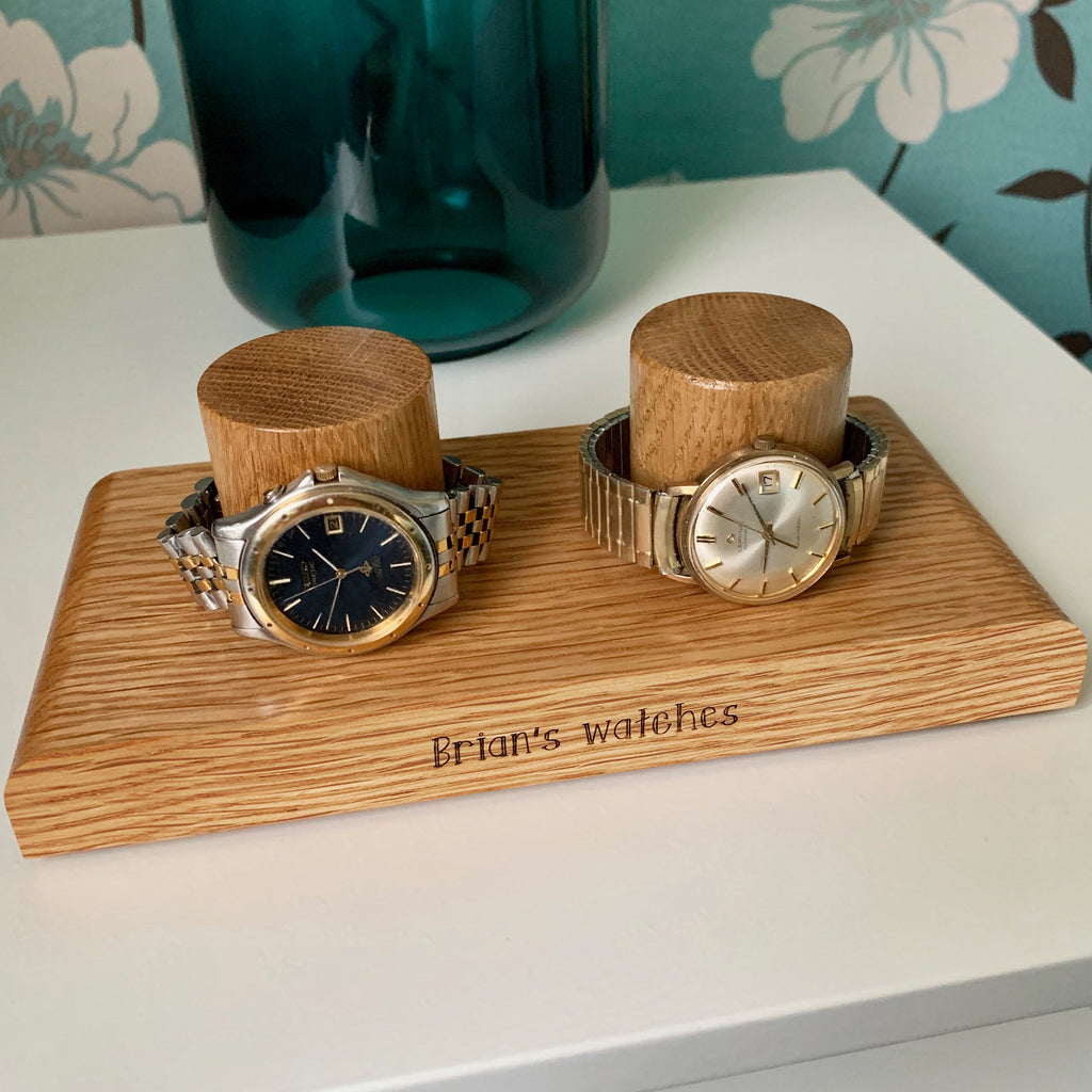 Personalised Wooden Double Watch Stand