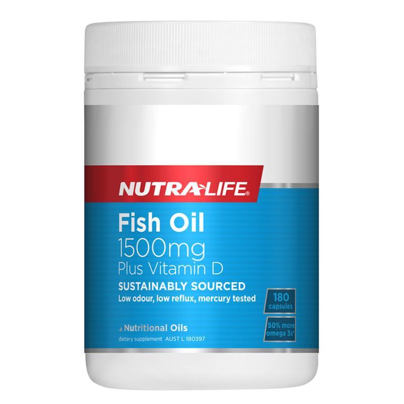 Nutra Life Fish Oil 1500mg + Vitamin D 180 Capsules
