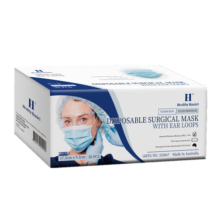 Healthy Haniel Disposable Surgical Mask with Ear Loops 50 Pieces