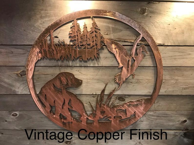 Duck and Dog Wall Art - Personalized Wall Art Third Shift Fabrication Vintage Copper