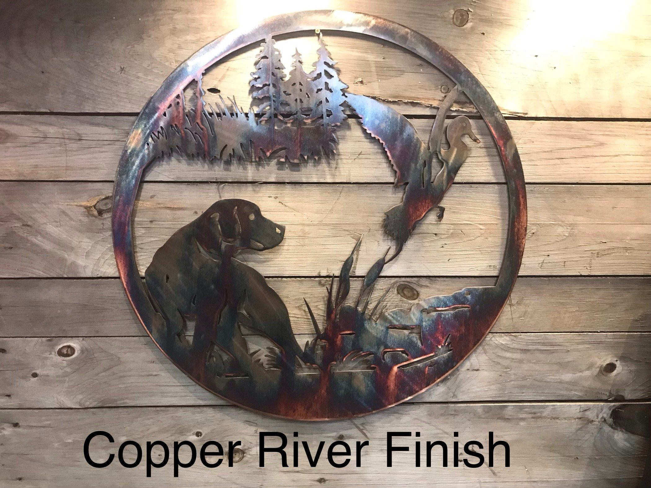 Duck and Dog Wall Art Wall Art Third Shift Fabrication 24 Inch Copper River