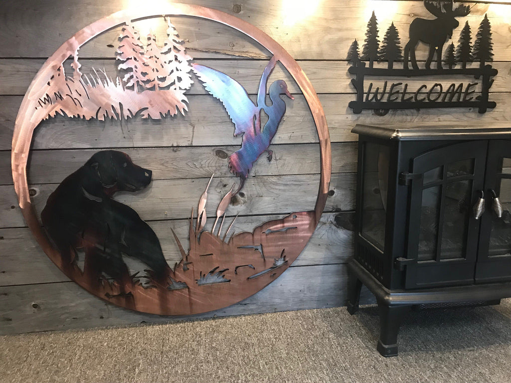 Duck and Dog Wall Art Wall Art Third Shift Fabrication 24 Inch Copper Torch