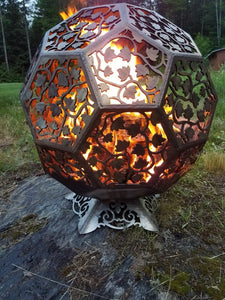 Fire Pit - Stainless Steel Sphere - Ivy Leaf Third Shift Fabrication