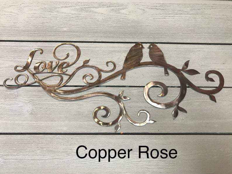 Lovebirds Wall Art Third Shift Fabrication Copper Rose