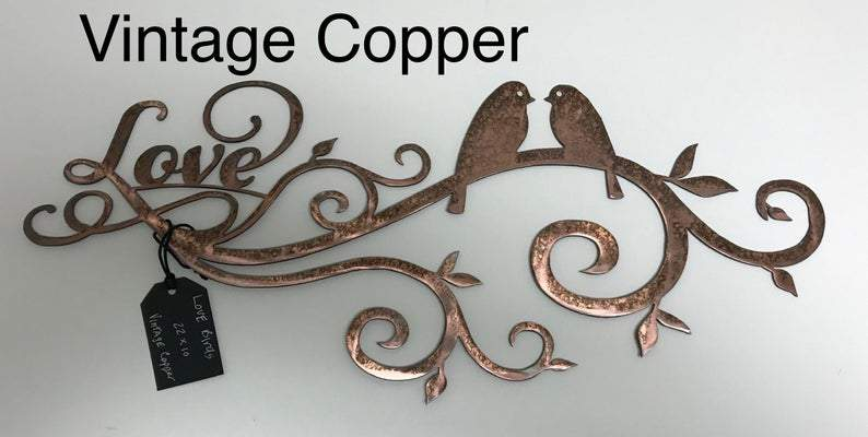 Lovebirds Wall Art Third Shift Fabrication Vintage Copper