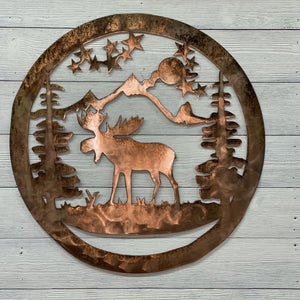 Moose & Mountain Wall Art Third Shift Fabrication 15 inch | $75.00 Vintage Copper