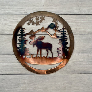 Moose & Mountain Wall Art Third Shift Fabrication 24 inch | $175 Copper Torch