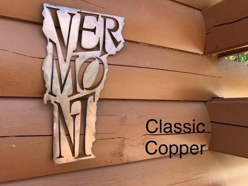 Vermont State Pride Wall Art Wall Art Third Shift Fabrication Classic Copper