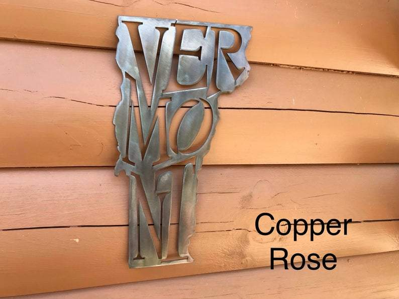 Vermont State Pride Wall Art Wall Art Third Shift Fabrication Copper Rose
