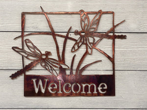 Welcome Sign - Dragonflies Wall Art Third Shift Fabrication