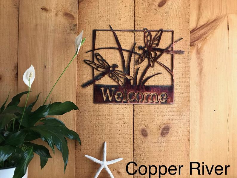 Welcome Sign - Dragonflies Wall Art Third Shift Fabrication Copper River