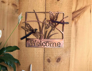 Welcome Sign - Dragonflies Wall Art Third Shift Fabrication Copper Torch