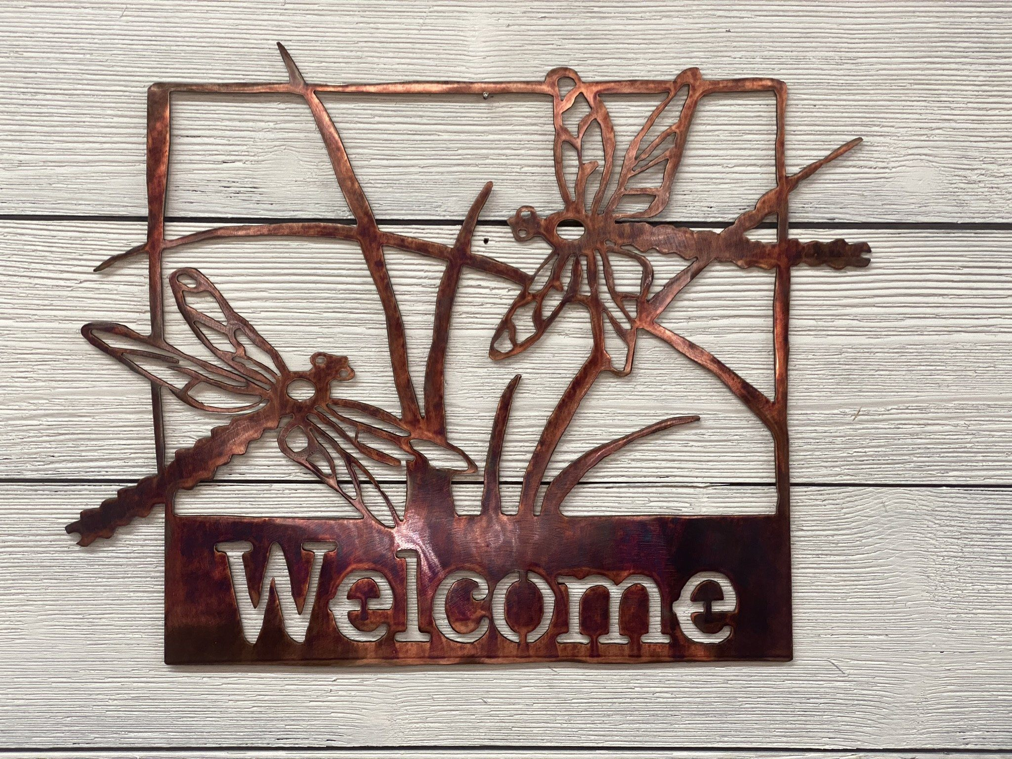 Welcome Sign - Dragonflies Wall Art Third Shift Fabrication Scarlet Sunset