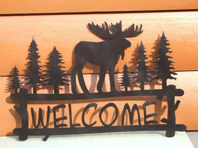 Welcome Sign - Moose In Woods Wall Art Third Shift Fabrication
