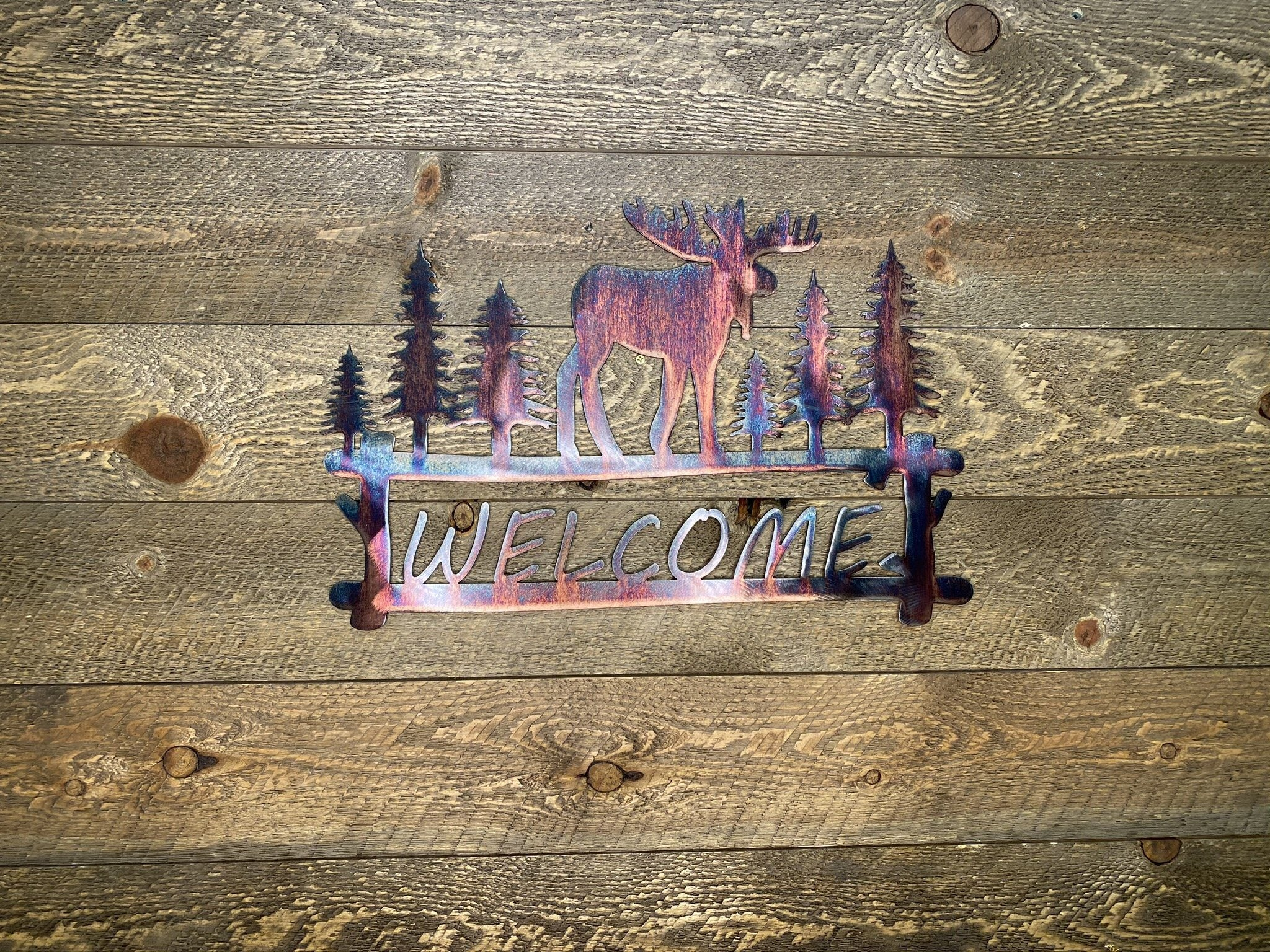 Welcome Sign - Moose In Woods Wall Art Third Shift Fabrication Copper River