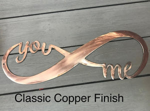You and Me Infinity Wall Art Third Shift Fabrication Classic Copper