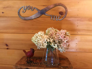 You and Me Infinity Wall Art Third Shift Fabrication Copper Rose