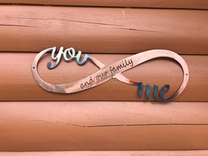 You, Me, and Our Family Infinity Wall Art Third Shift Fabrication Copper Torch