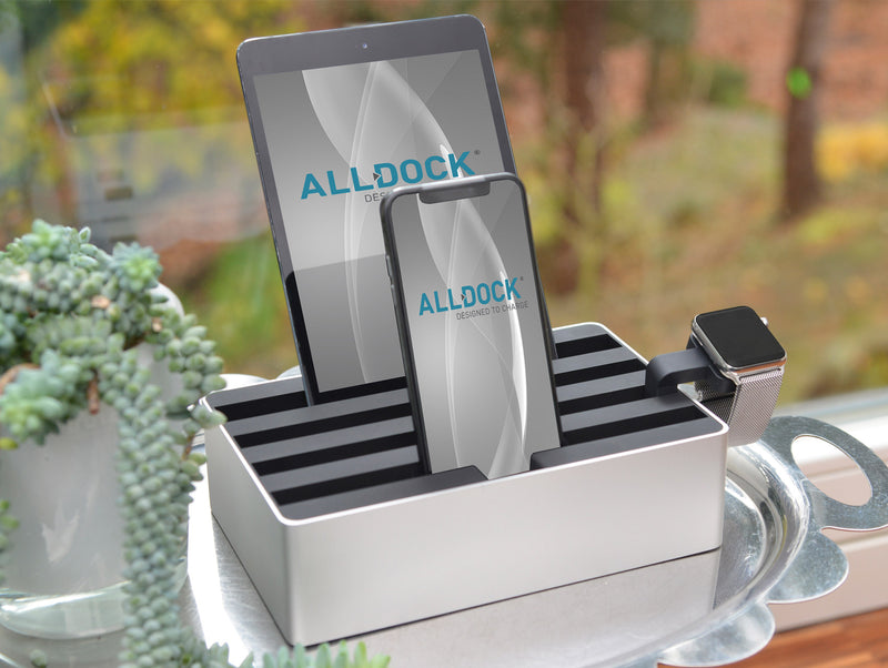 ALLDOCK Medium Aluminium Silber / Schwarz silver black compatible with ipad iphone smartphone