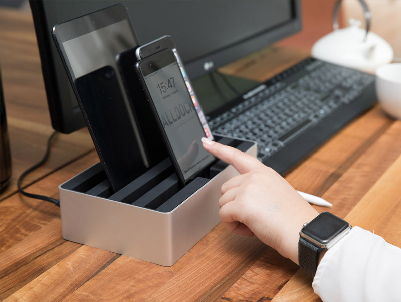 ALLDOCK Medium Aluminium Silber / Schwarz silver black with charger compatible with ipad iphone smartphone