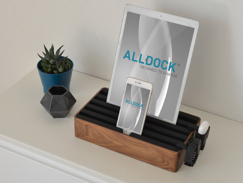 ALLDOCK Large Walnuss / Schwarz walnut black compatible with camera smartphone iphone ipad groß