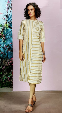 Embroidered Cotton Kurti - R00185 - AAVARNAM.COM