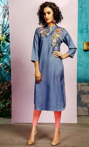 Embroidered Cotton Kurti - R00182 - AAVARNAM.COM