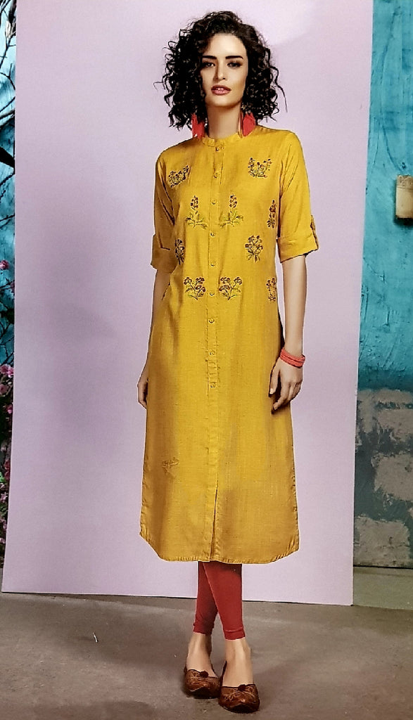 Embroidered Cotton Kurti - R00183