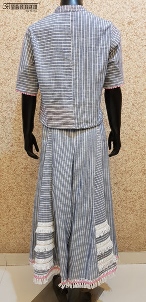 Aavarnam By Renu - Soft Linen Cotton Stripes Top With Kalidar Sharara - D00004