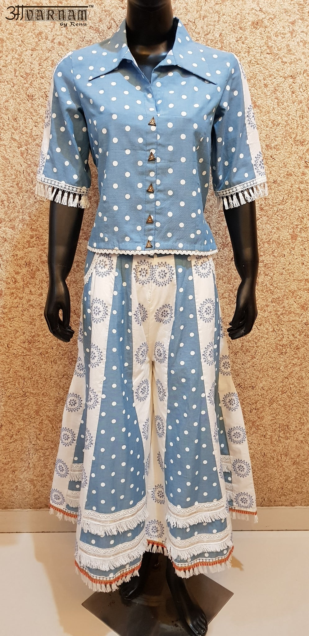 Aavarnam By Renu - Polka Dots Top With Embroidered Kalidar Sharara - D00015