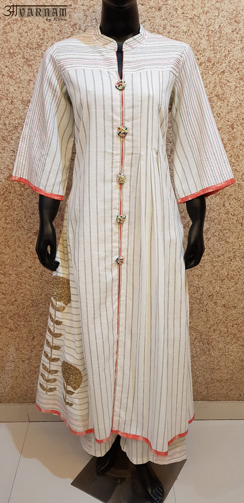 Aavarnam By Renu - Embroidered Shirt With Gotta Work Pallazo - D00019