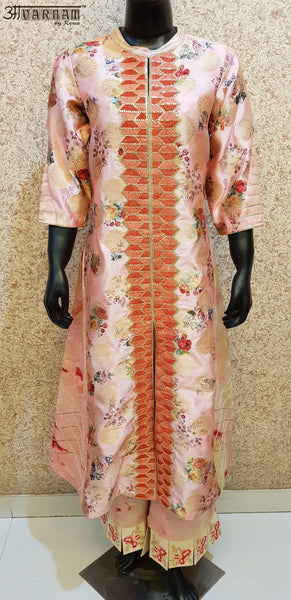 Aavarnam By Renu - Embroidered Chanderi Brocade Shirt With Embroidered Pallazo - D00020