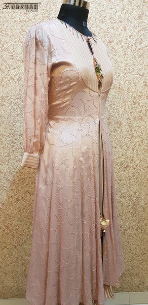 Aavarnam By Renu - Embroidered Flared Dress With Pallazo - 2845D00027