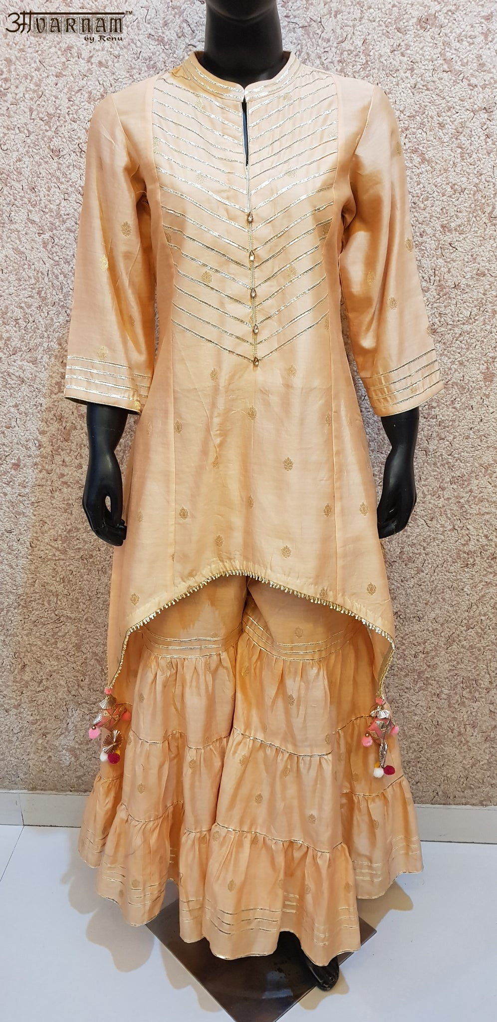 Aavarnam By Renu - Gotta Work C-Cut Shirt With Gharara - 2848D00031