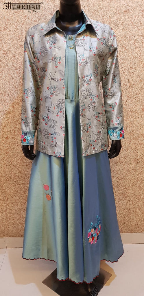 Aavarnam By Renu - Embroidered Flared Silk Dress With Embroidered Jacket - 2864D00035