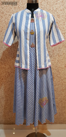 Aavarnam By Renu - Embroidered Flared Stripes Cotton Dress With Embroidered Jacket - 2001D00037