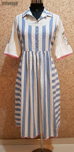 Aavarnam By Renu - Embroidered Cotton Stripes Dress - 2014D00038