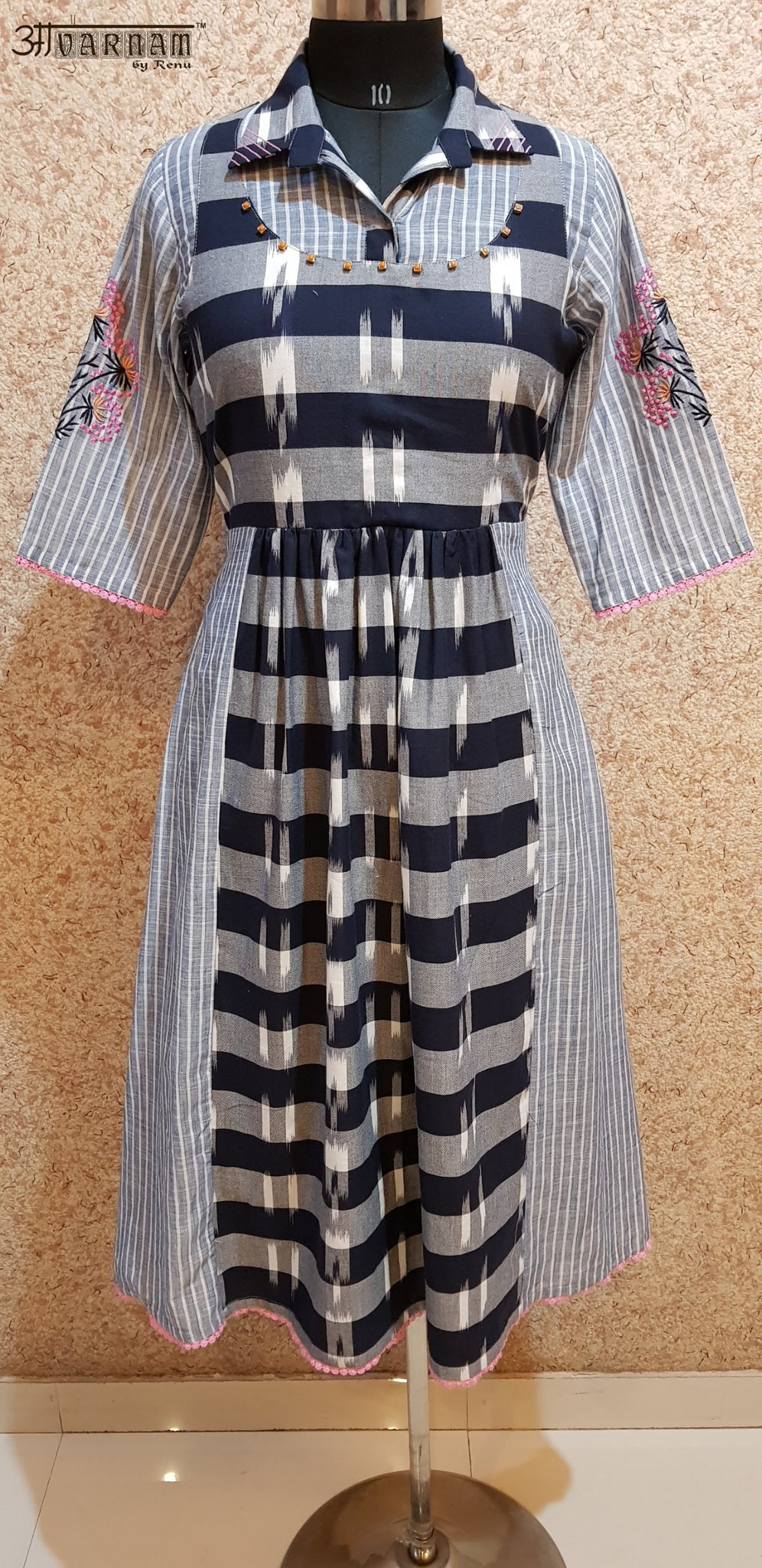 Aavarnam By Renu - Embroidered Stripes Cotton Dress - 2018D00039