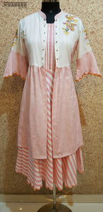Aavarnam By Renu - Flared Cotton Stripes Dress With Long Embroidered Cape - 2003D00040