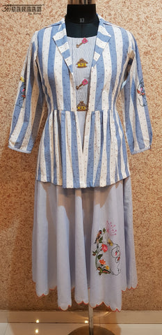 Aavarnam By Renu - Embroidered Flared Cotton Dress With Embroidered Stripes Cotton Jacket - 2002D00041