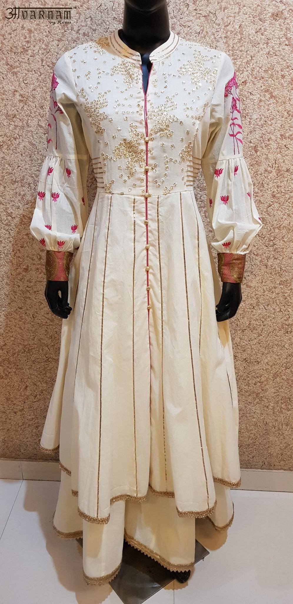 Aavarnam By Renu - Embroidered Gotta Work Kalidar Shirt With Kalidar Sharara - 2869D00048