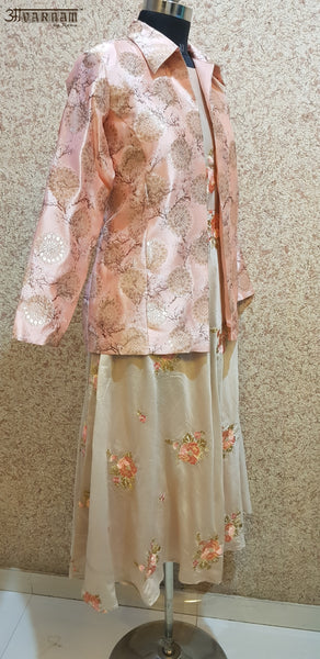 Aavarnam By Renu - Embroidered Flared Dress With Jacket - 2867D00051